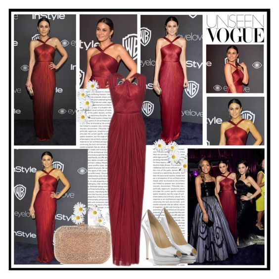 """""""2017 InStyle Golden Globes After Party~ Emmanuelle Chriqui"""" by snugget9530 ❤ liked on Polyvore featuring Maria Lucia Hohan and Judith Leiber"""