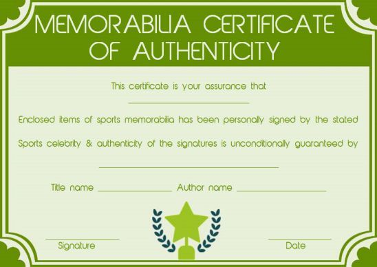 Memorabilia Certificate Of Authenticity Template Student Learning Templates Simple Words