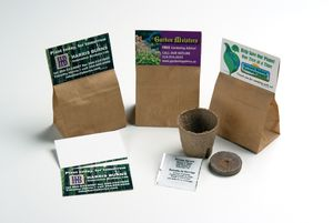 Bag comes with perforated business card • Kit contains: - 1 Peat Moss Planting Pot - 1 Peat Moss Seed Starter Puck - 1 Packet Containing Approx. 8 Seeds (Your choice of norway spruce, basil, daisy, black-eyed susan, or tomato)  - 1 Set of Planting Instructions (on back of business card)