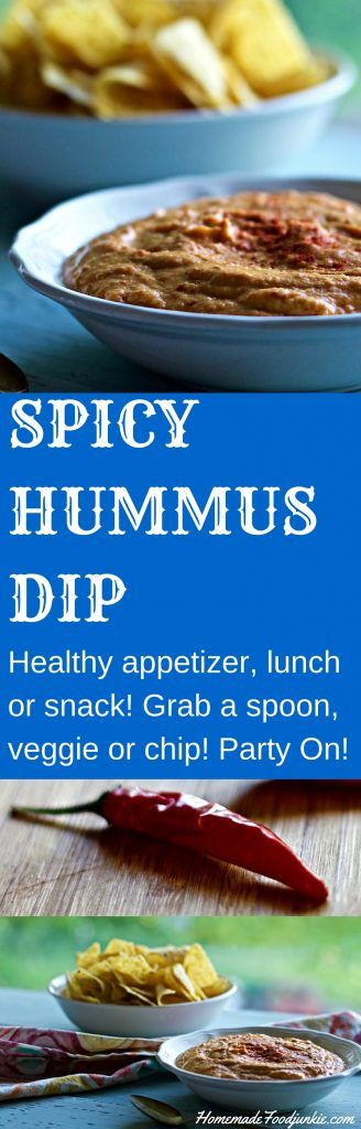 SPICY HUMMUS DIPThis dip is amazingly healthy! Nutritionally Balanced, High-Fiber, Low-Sugar, Vegan, Vegetarian,Dairy-Free, Gluten-Free! Grab a spoon or a chip! http://homemadeFoodJunkie.com