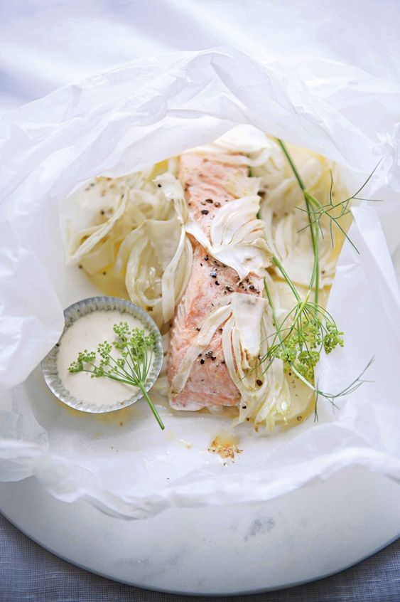 Salmon, fennel and new potato parcels with lemon mayonnaise// 4 new ...