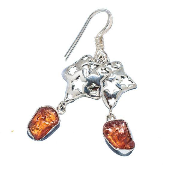 "Rough Citrine Star 925 Sterling Silver Earrings 2"" EARR326468"