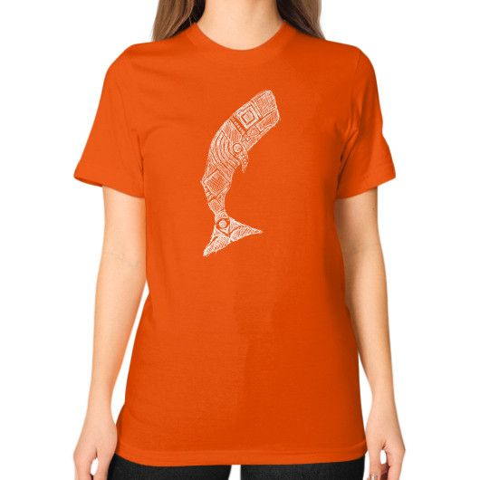 The great white whale sketch Unisex T-Shirt (on woman)