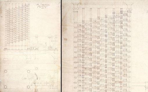 """Máquina diferencial – 1832 Un detalle del dibujo del primer ordenador de la historia: """"The Difference Engine"""" (Máquina diferencial) una calculadora mecánica diseñada por Charles Babbage. Medía 2.43m de alto por 2.13m de ancho y 0.91m de profundidad con engranajes de bronce. La imagen del dibujo muestra una versión para calcular tablas de logaritmos usadas por científicos e ingenieros."""