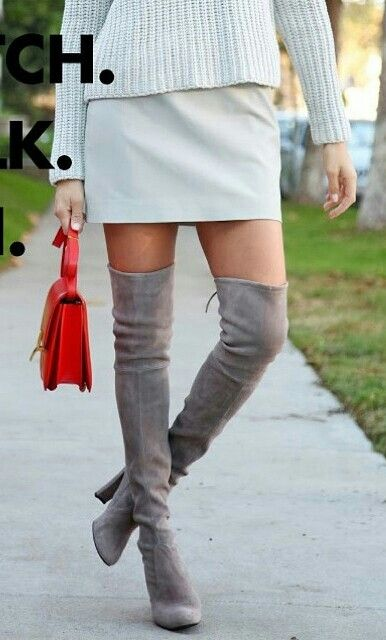 Grey over the knee suede boots | stylin ideas | Pinterest | Grey ...