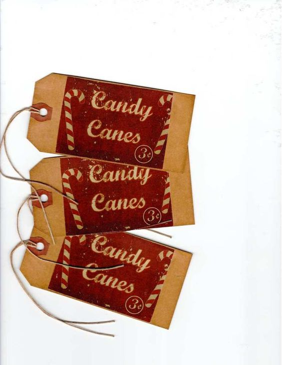 ~12~CHRISTMAS TAGS~ Prim Candy Cane~  PRIMITIVE GRUNGY TAGS~