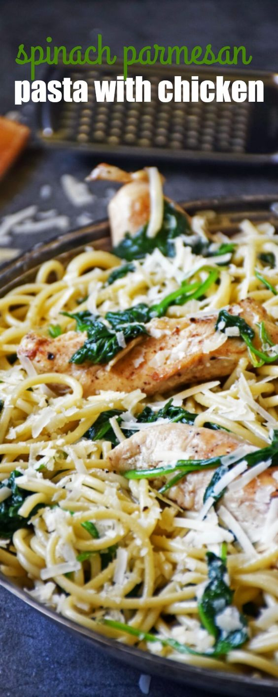SPINACH PARMESAN PASTA WITH CHICKEN is an easy, 30-minute meal perfect for those nights when dinner sneaks up on you!: