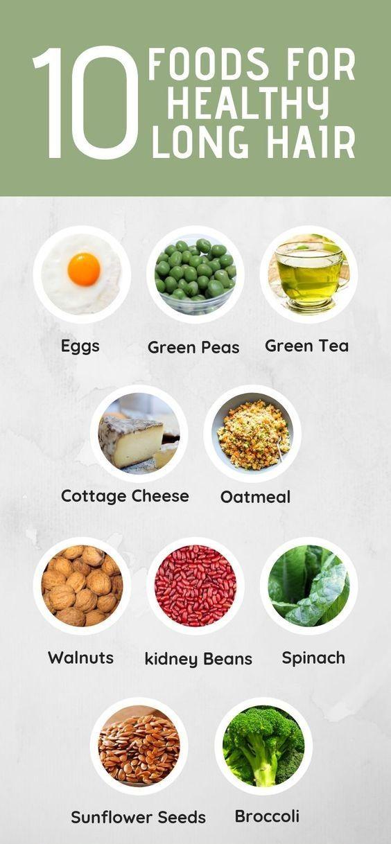 10 Foods For Healthy Hair Hair Food Long Healthy Hair Growing Long Hair Faster