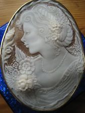 "Rare Antique Art Nouveau 18k Yellow Gold Shell Cameo Largest 4"" x 3"" - Stunning!"