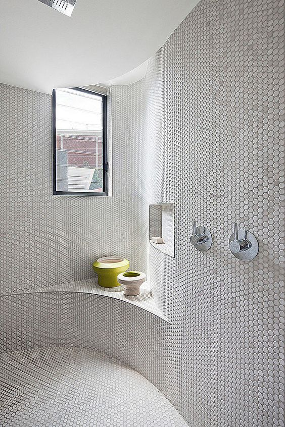 Different Shapes Organic Form And Penny Round Tiles On