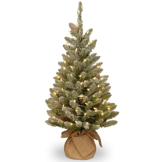 3ft Snowy Concolor Fir Small Artificial Christmas Tree In Burlap With Snowy Cones Warm White Led Lights In 2021 Small Artificial Christmas Trees Fir Christmas Tree Pre Lit Christmas Tree