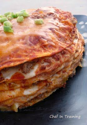 Cheesy enchilada stack.  Yes, please!