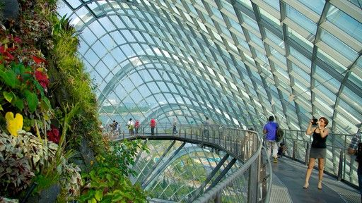 Singapore Gardens By The Bay Showing Interior Views Modern Architecture And A Garden Singapore Garden Gardens By The Bay Indoor Waterfall