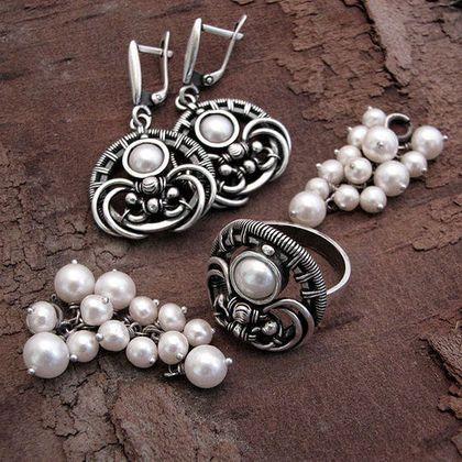 Белая смородина (серьги-трансформеры и кольцо) - длинные серьги,серьги с жемчугом