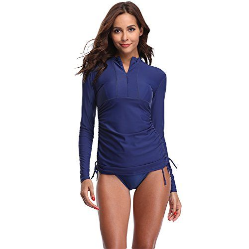 Womens UV Sun Protection Short Sleeve Rash Guard Wetsuit Swimsuit Top
