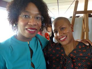 PLJ, Prissy Mag's Editor & Founder, w/ Felicia Leatherwood at the Natural Hair Academy in Paris. Ms. Leatherwood's workshops are an invaluable resource to women who want to learn how to maintain and take care of natural hair.