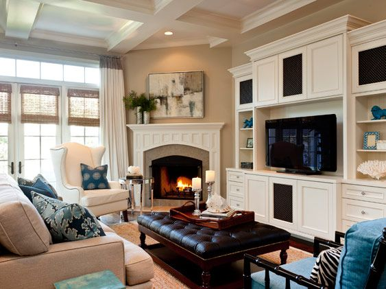 Fireplaces corner fireplace layout and built ins on pinterest - Living room corner ideas ...