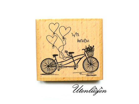 Wir heiraten - mit Tandem, Herzluftballons und Blumenkorb - Motivstempel
