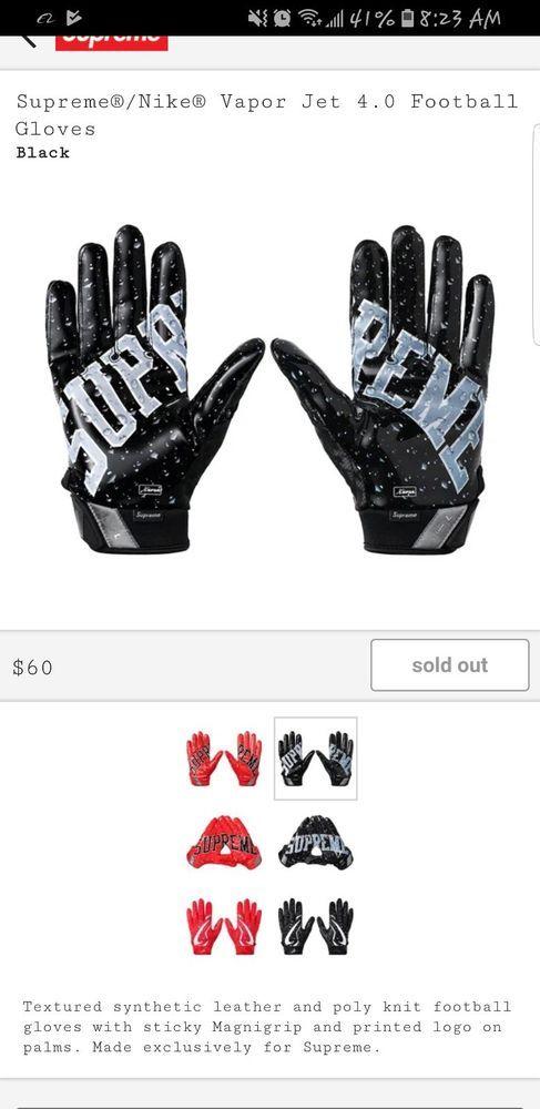 Supreme Nike Vapor Jet 4 0 Football Gloves Black Confirmed Order Sz Medium Fashion Clothing Shoes Accessories Mensacc Mitten Gloves Gloves Football Gloves