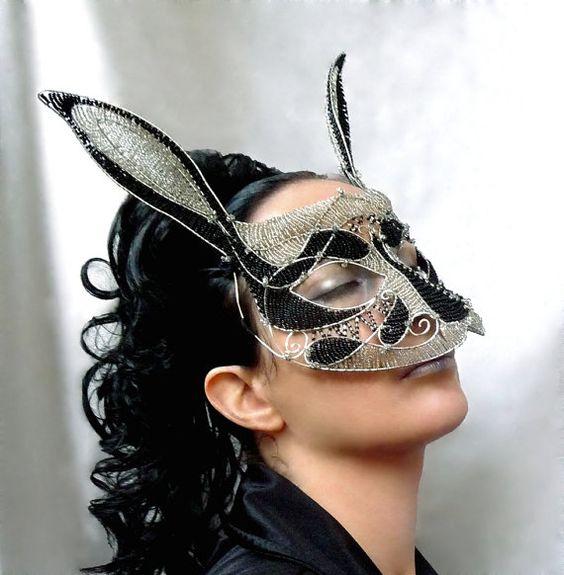 rabbit masquerade mask womens halloweencostume accessories handmade mardi gras - Halloween Costumes With A Masquerade Mask