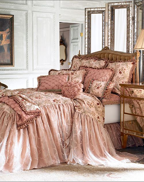 Bedspreads pink bed linen and chiffon skirt on pinterest for Elegant princess bedroom