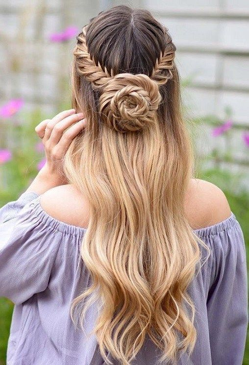 28 Captivating Half Up Half Down Wedding Hairstyles Straight Wedding Hairstyle With Braids Princess Braids For Long Hair Straight Wedding Hair Hair Styles