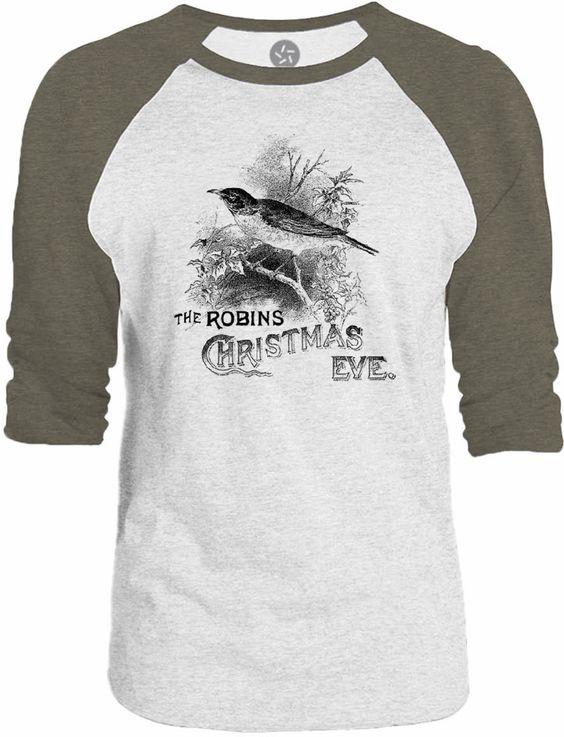 Big Texas Christmas Robin 3/4-Sleeve Raglan Baseball T-Shirt