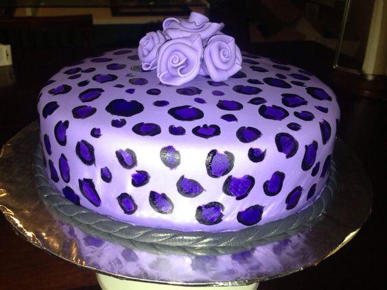 Purple cheetah print cake