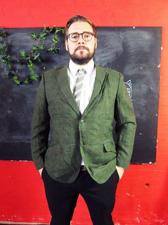 Vintage 1970s Green Tweed PLAID Blazer Jacket Medium