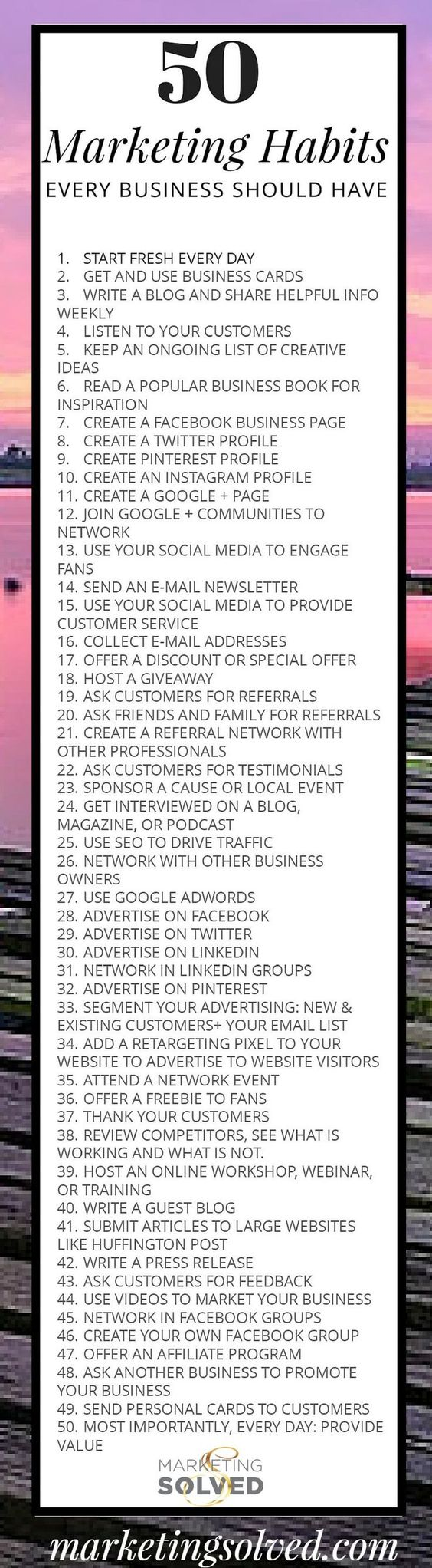 50 marketing habits every business should have. #infographic #checklist