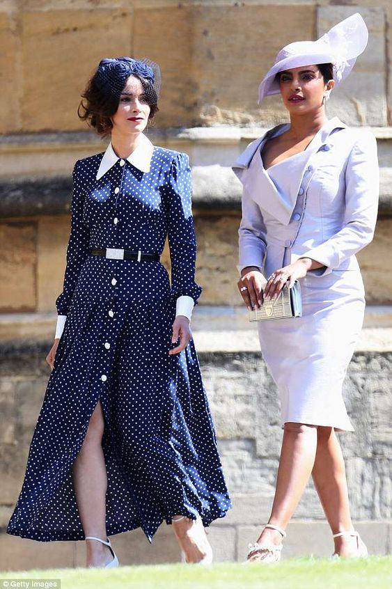 Wow!: Priyanka Chopra put on an elegant display as she attended the Royal Wedding at St George's Chapel, Windsor Castle, on Saturday