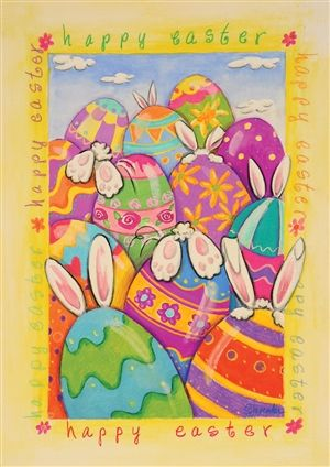Easter Bunny and Egg House and Garden Flag