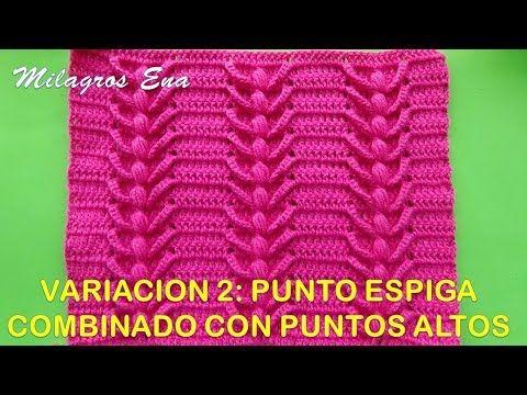 Variación 2: Punto espiga a crochet con puntos altos de