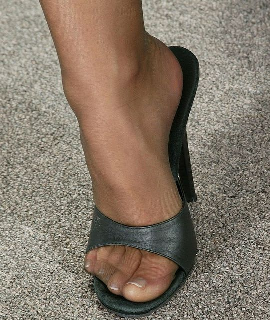 Teacher stockings high heel mules
