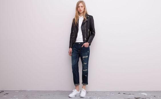 Pull&Bear - damen - news - boyfriend-jeans mit rissen - dunkelblau - 05682302-V2015