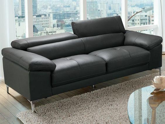 Canap 3 places solange avec t ti res en cuir noir pas cher angle droit prix - Canape original colore ...