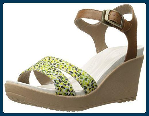 Crocs - Frauen Leighii Anklestrap- Graphic Keilsandale EUR: 41 Hazelnut/Gold