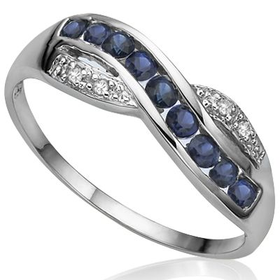 Brilliant and beauty! Add a touch of graceful to any ensemble with this sterling silver with platinum ring. Featuring 9 pieces excellent genuine midnight blue sapphire and double glowing white diamonds, makes this sterling silver with platinum ring a special gift for yourself or someone you love.  Sapphire is symbolic of love, permanence, loyalty and trust. Stock is limited, price is for today only, so why hesitate to own this precious gemstone diamond ring? Our Price : $16.99
