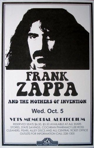 Limited Frank Zappa Live Concert Poster Print 1977 VERY LIMITED RARE