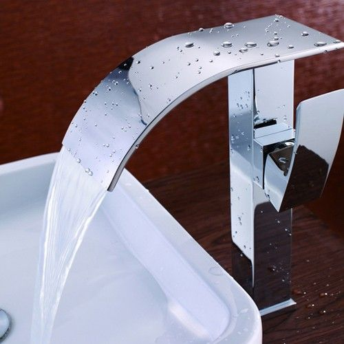 The strong, geometric lines of this Taboro Faucet offer a simple, distinctive style. With a flat and curved spout atop the angled faucet body, this vessel sink faucet displays a beautiful nature of waterfall. The wide handle with a gentle curve matches up with the spout and is designed for easy operation.