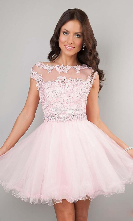 Short Prom Dresses Pink High Neck Beaded Applique See Through ...