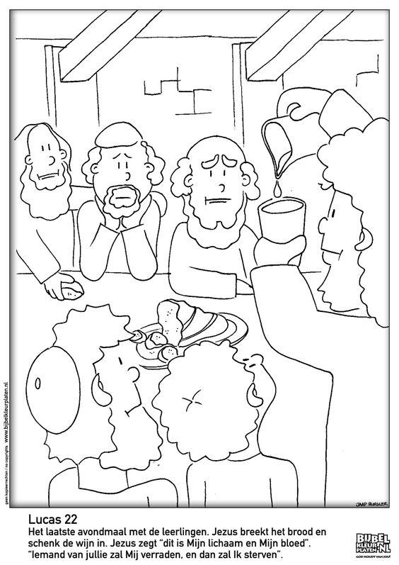 Christelijke Kleurplaten Discipelen Lucas 22 Het Laatste Avondmaal Bijbelse Kleurplaten