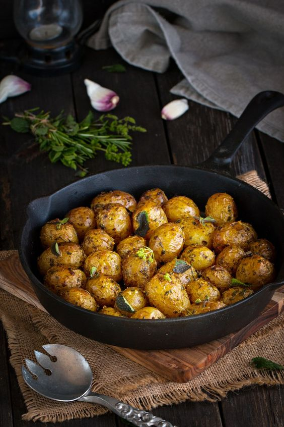 New potatoes baked with garlic and herbs