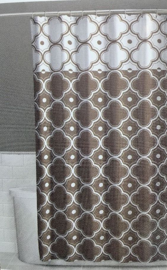 Details About Fabric Shower Curtain 70 X 72 Inch Vera Tan Brown Beige Comfort