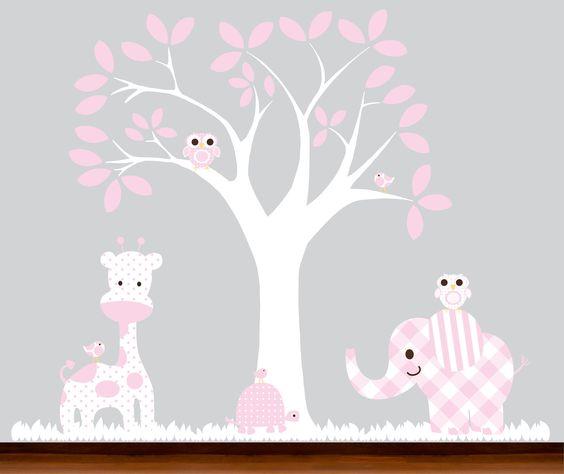 Pink baby childrens nursery wall tree decal decal - vinyl wall art. $109.00, via Etsy.