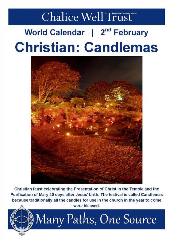 Christian feast celebrating the Presentation of Christ in the Temple and the Purification of Mary 40 days after Jesus' birth. The festival is called Candlemas because traditionally all the candles for use in the church in the year to come were blessed.