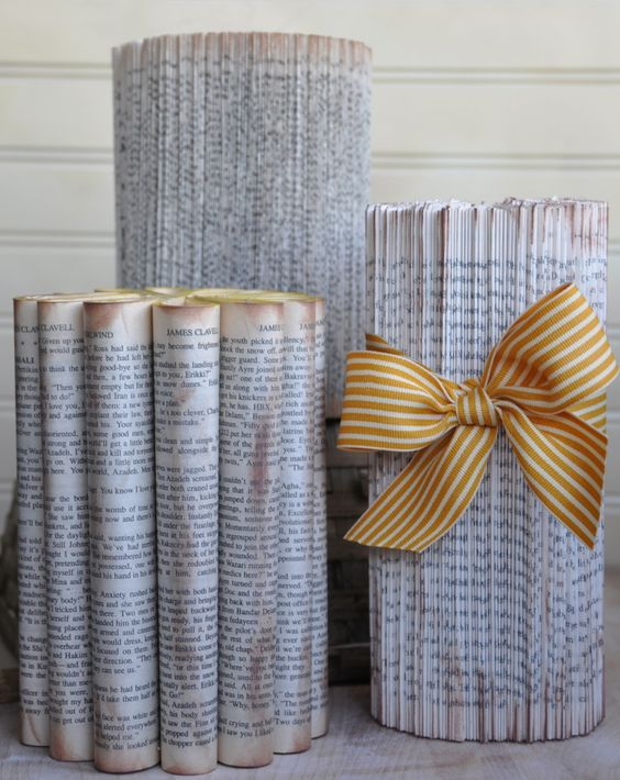 Lots of fun crafts to do with book pages.