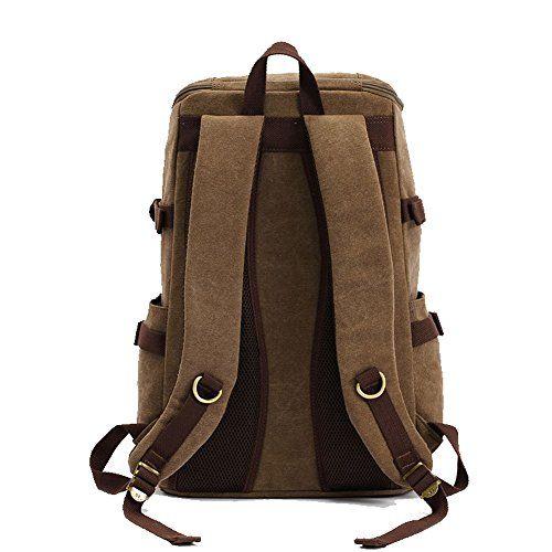Kaukko Men's Canvas Travel Backpacks For Men With Laptop Compartment Khaki by KAUKKO Take for me to see Kaukko Men's...