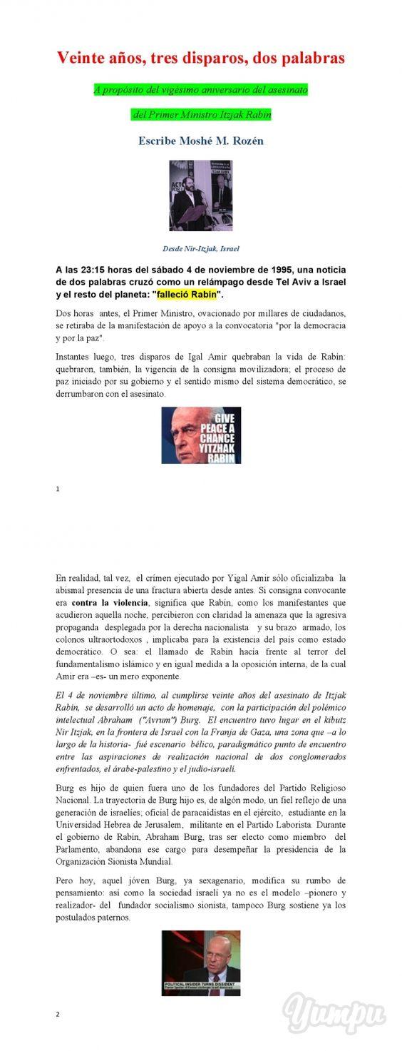 Rabin, Noviembre de 2015    - Magazine with 3 pages: NUEVA SION, Buenos Aires