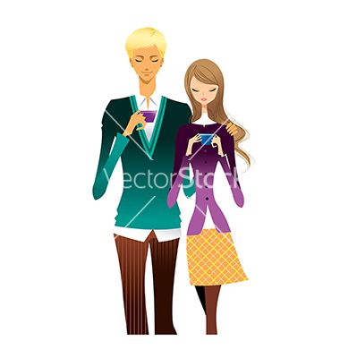 Portrait of young couple vector by zzve on VectorStock®